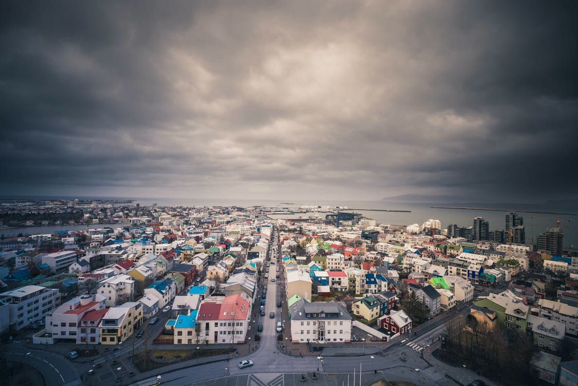 Houses in Reykjavik from above