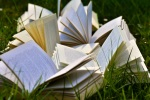 Open books laying in grass