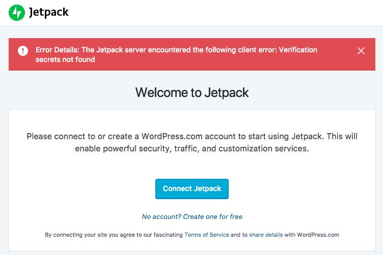 Jetpack verification secrets error message