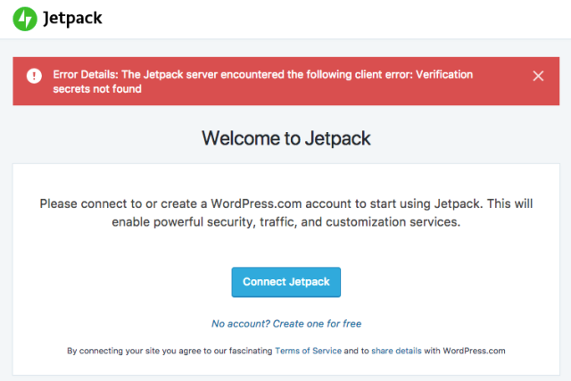 Jetpack verification secrets error message