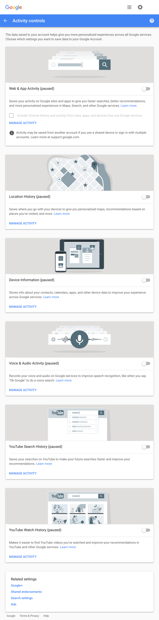 Screenshot of Google's Activity Controls permissions settings webpage