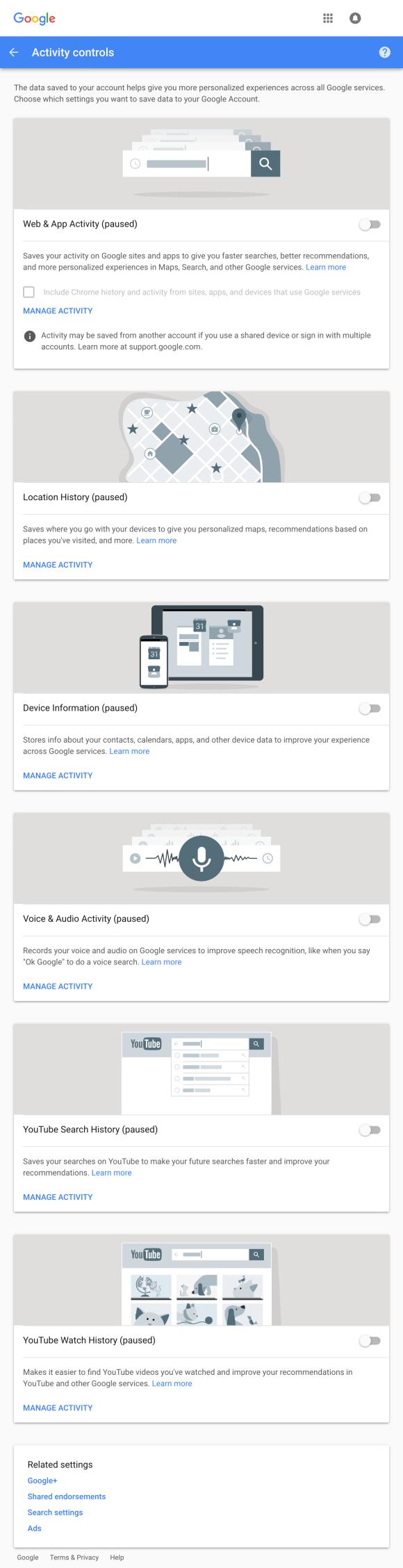 Screenshot of Google's Activity Controls permissions settings webpage