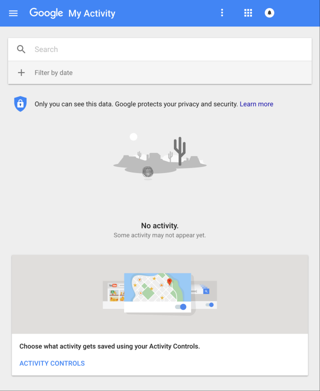 Screenshot of Google's My Activity control page