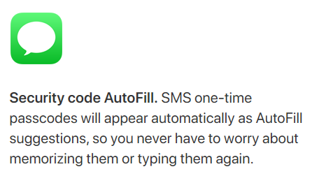 iMessage Security code AutoFill