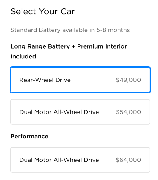Base configuration Model 3 available in 5 to 8 months