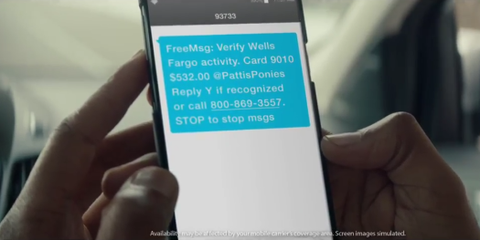 Wells Fargo account alert text message from YouTube ad