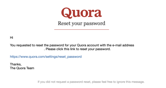 Quora password reset email