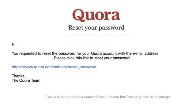 Quora password reset email